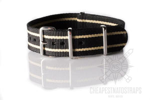 NATO Strap Black with two Beige stripes