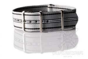 NATO Strap Gray, Black and White
