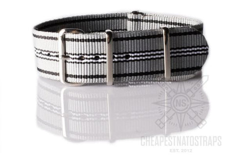 NATO Regimental Strap Gray, Black and White