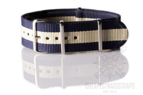 NATO Regimental Strap Navy and Beige