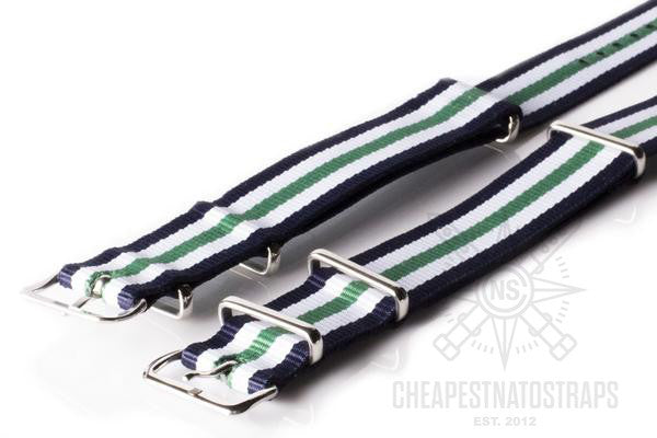 NATO Regimental Strap Navy, White and Green