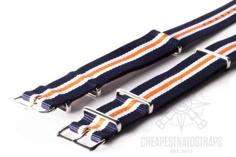 NATO Regimental Strap Navy, White and Orange