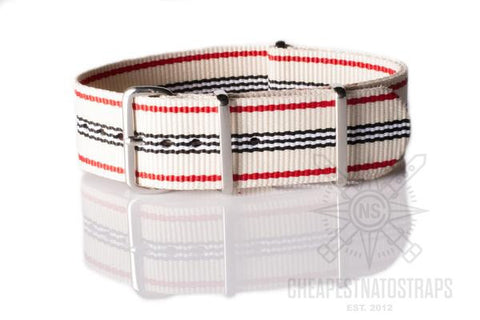 NATO Regimental Strap Off white, Red, Black and White