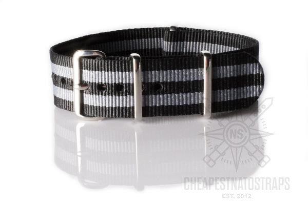 "NATO Strap Black and Gray ""James Bond"""