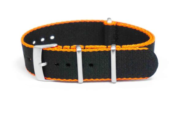 Brushed Seat Belt NATO strap Orange and Black (18 mm)