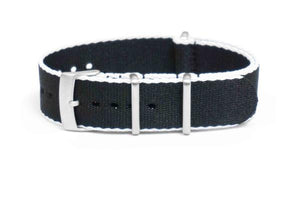 Brushed Seat Belt NATO strap White and Black (18 mm)