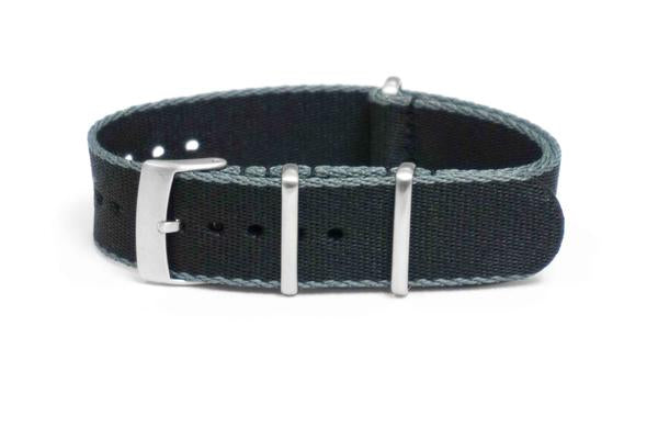 Brushed Seat Belt NATO strap Gray and Black (18 & 22 mm)