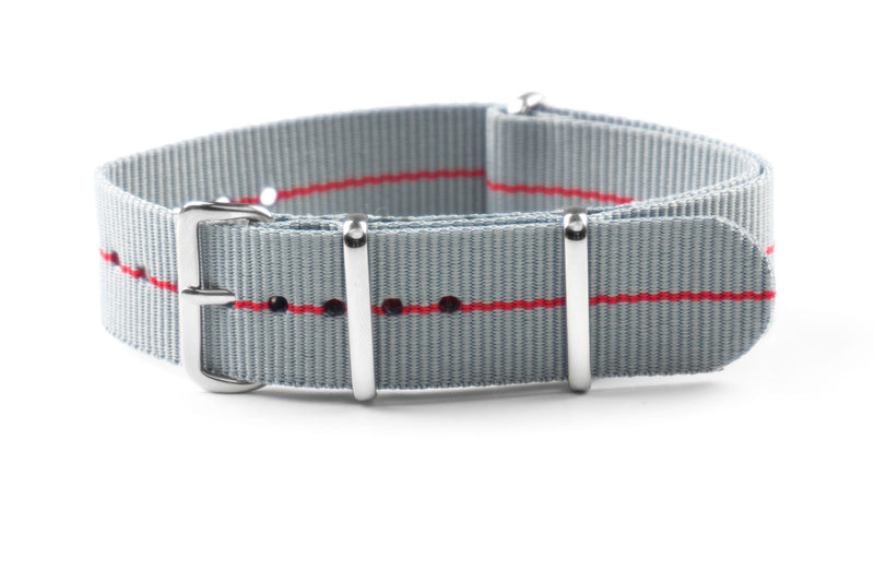 NATO Strap Marine Nationale Gray and Red (20 & 22 mm)
