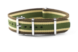 NATO Strap Brown Beige and Khaki Green