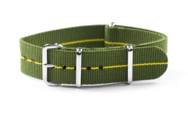 NATO Strap Marine Nationale Khaki Green and Yellow (18 & 22 mm)