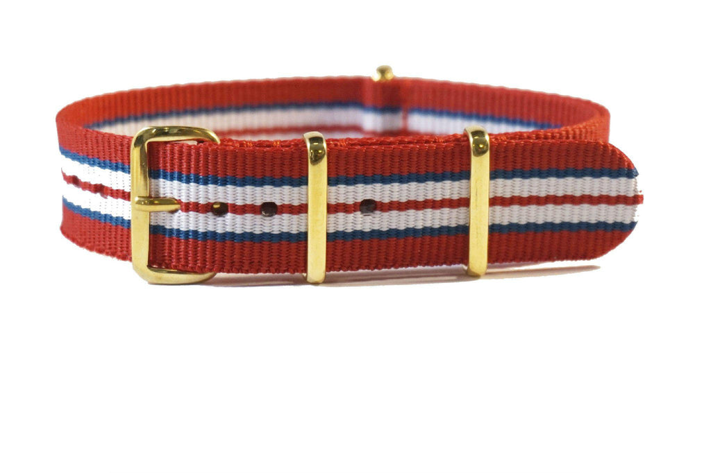 Gold premium NATO Strap Norway Red, Blue and White - Cheapest NATO Straps