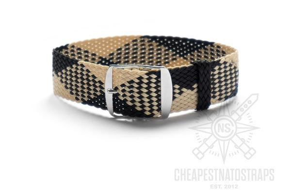 Adjustable Perlon strap Beige and Black