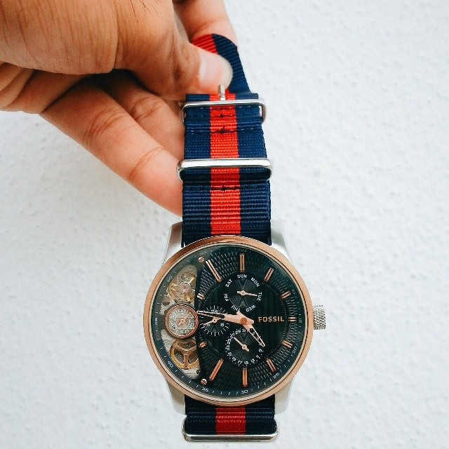 Extra Long Premium NATO strap Navy and Red - Cheapest NATO Straps  - 6