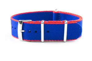 Seat Belt NATO Strap Blue and Red (20 & 22 mm)