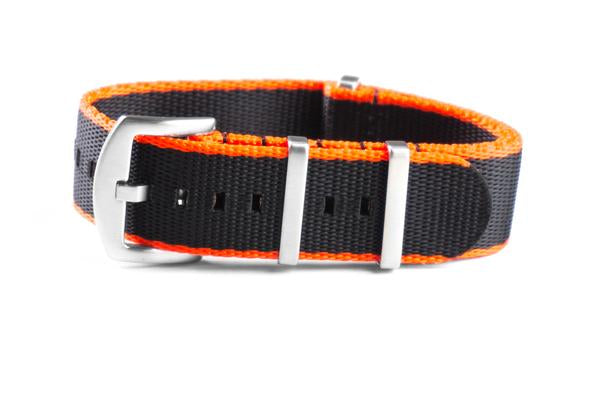 Budget Seat Belt NATO strap Orange and Black (20 & 22 mm)