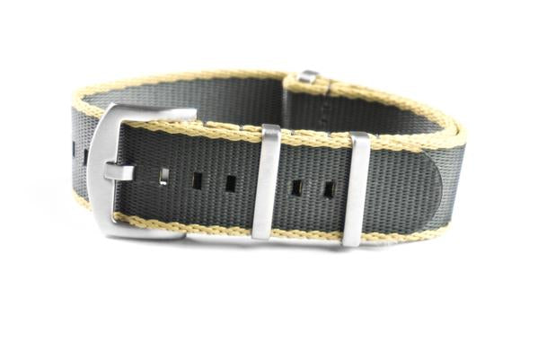 Budget Seat Belt NATO strap Khaki and Gray (18, 20 & 22 mm)