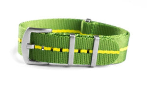 Budget Seat Belt NATO strap Green and Yellow (20 & 22 mm)