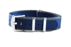 Budget Seat Belt NATO strap gray and navy (18, 20 & 22 mm)