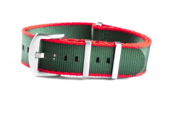 Budget Seat Belt NATO strap red and green