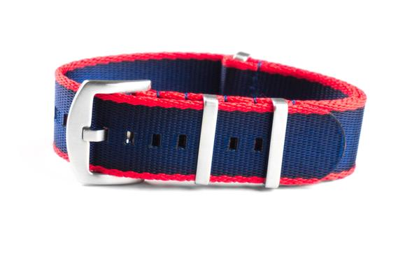 Budget Seat Belt NATO strap Red and Navy (20 & 22 mm)
