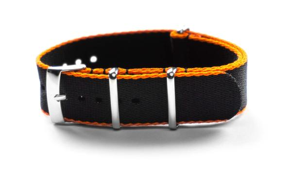 Seat Belt NATO Strap Black and Orange (18 mm)