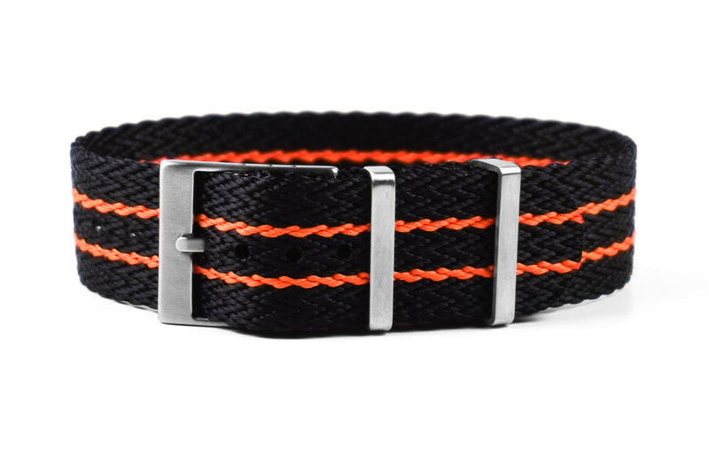 SharkTooth Strap Black and Orange (20 & 22 mm)