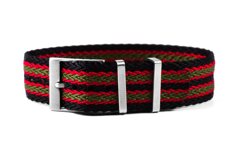 SharkTooth Strap Black, Red and Green