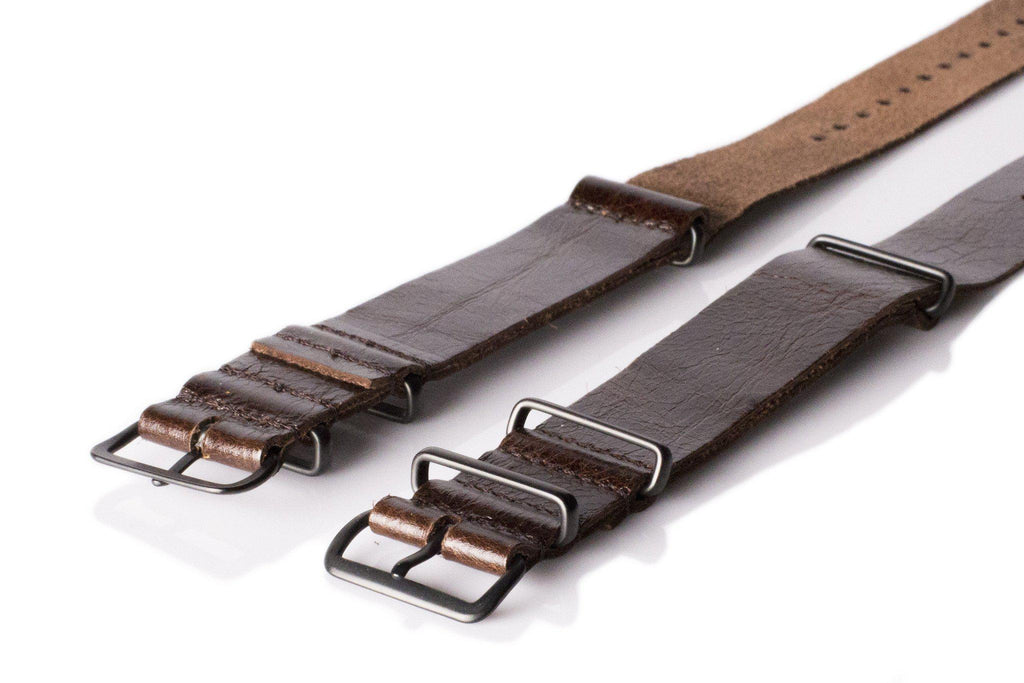 PVD Premium Leather NATO Strap Shiny Vintage Brown - Cheapest NATO Straps  - 2