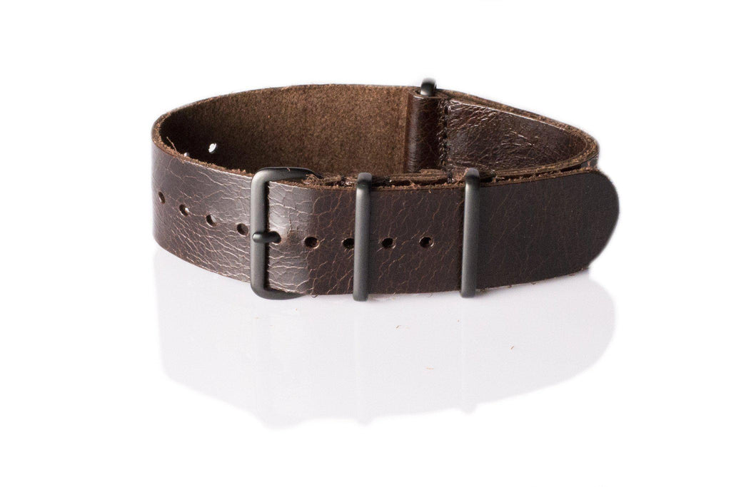 PVD Premium Leather NATO Strap Shiny Vintage Brown - Cheapest NATO Straps  - 1