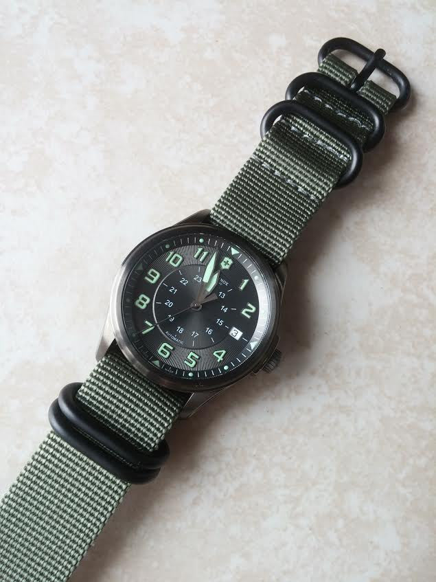 Extra Long PVD Zulu Strap 5-ring Silver Green - Cheapest NATO Straps  - 3