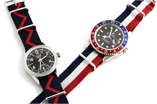 NATO Regimental Strap Blue and Red Zick-Zack - Cheapest NATO Straps  - 3