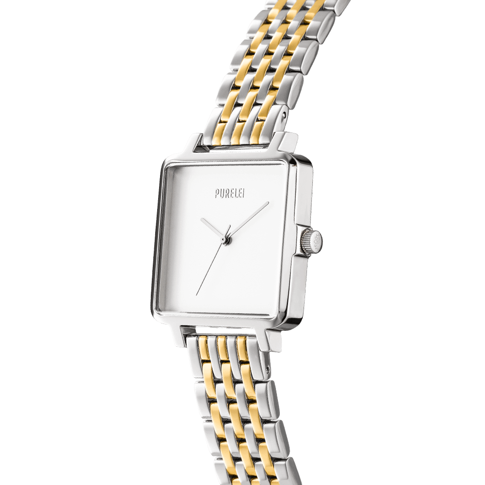 Montre Square Bicolor White