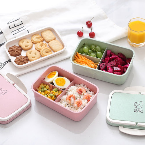 Neutrale Bento Box met cartoon.