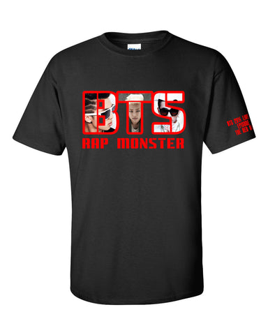 MENS BTS RED BULLET WITH MEMBER NAME TSHIRT