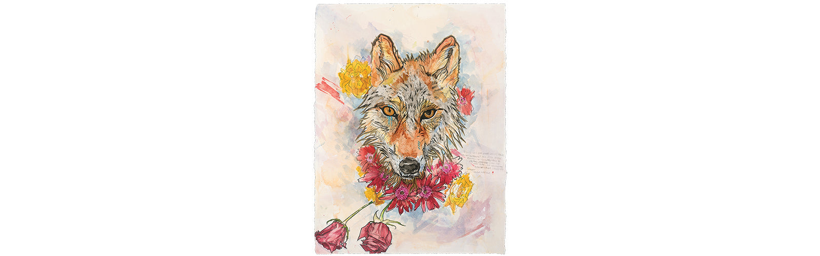 """Amor fati"" is Latin for ""love of one's fate."" This piece is a meditation on acceptance of how life unfolds. The roses are beautiful, but temporary. Do we only love them in their bloom? Red wolves are on the verge of extinction...seen through ""amor fati,"""