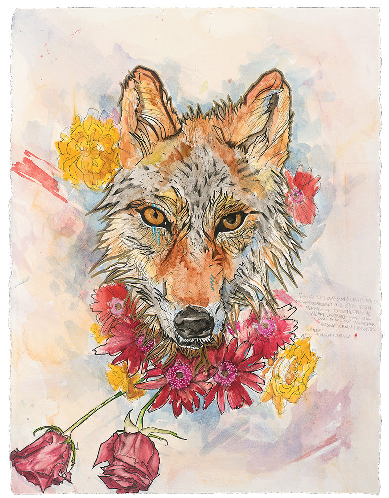 """Amor fati"" is Latin for ""love of one's fate."" This piece is a meditation on acceptance of how life unfolds. The roses are beautiful, but temporary. Do we only love them in their bloom? Red wolves are on the verge of extinction...seen through ""amor fati,"" everything that happens in one's life, including suffering and loss, are necessary parts of the whole. With an acceptance of the totality of life, we choose to make it all beautiful."