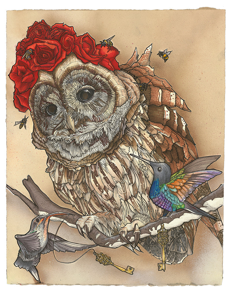 My take on The Hierophant tarot card, usually the 5th card in the Major Arcana (hence the five bees). In my version, the owl's wisdom spreads organically, through willful learning, rather than via the subservience suggested in the card's classical depiction. The hummingbirds have possession of the Keys of Life, which are adorned with the Kabbalah Tree of Life pattern. Can you spot the symbolism?