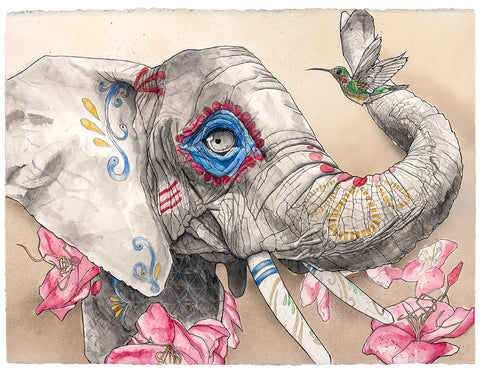 Representing strength, family, and community; stable and wise, elephants remember their dead and maintain rituals. Even their young learn to mourn ancestors they never personally met. Hummingbirds have been known to show up in the spirit of lost loved ones. This Día de los Muertos-themed piece is a tribute to family remembrance.