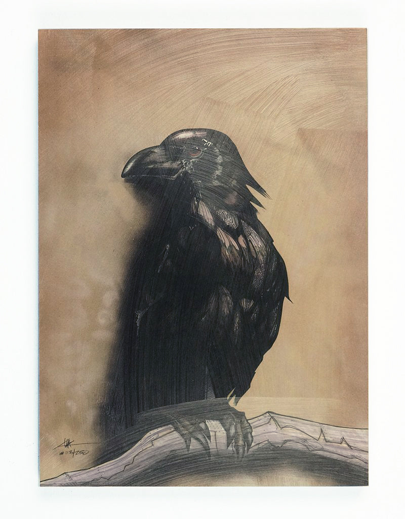 """ Crow Totem"" Print Mounted on Wood Panel"