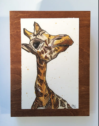 Giraffe on Chestnut Panel