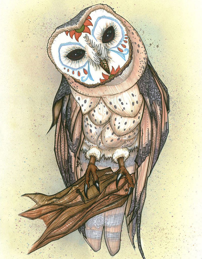 The wise owl is a common archetype, but some cultures view the owl as an omen of death. This piece is an intersection of both: the Dia de los Muertos theme reminds us of our shared mortality while this barn owl, with her compassionate gaze, gently advocates for you to let go and truly live.