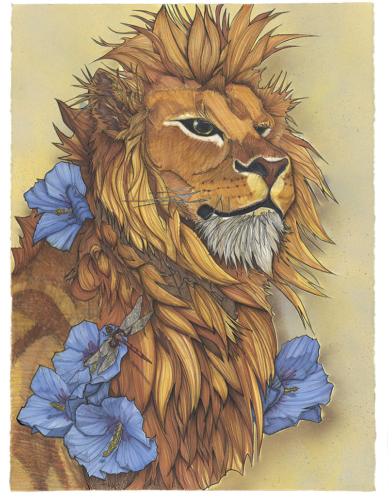 This wise leader reflects on his imperfections, accepting his mistakes. A zodiac piece: can you find the hidden Leo symbolism? A Leo zodiac symbol embedded in the dragonfly wings, two versions of the Leo star constellation in the fur below his mane, and the five hibiscus flowers numerate the fifth sign of the zodiac.
