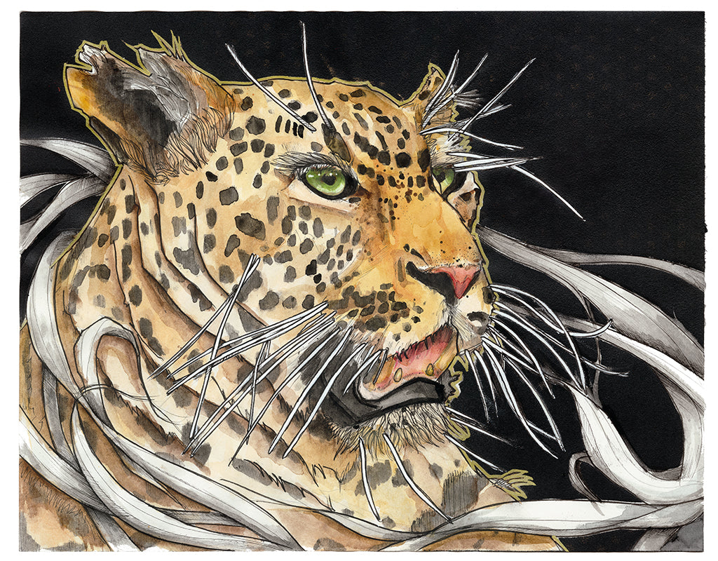 A mix of different materials, styles, and concepts from earlier and more recent times in my career. Enveloped in movement, the leopard sits strong in the center.