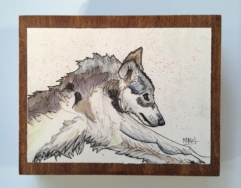 Wolf on Chestnut Panel
