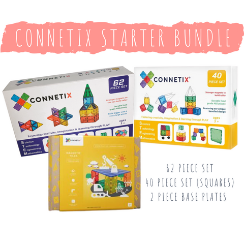 Connetix Tiles - Starter Bundle (62 Piece + 40 Piece + Base Plates RRP$279)