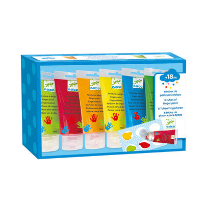 Djeco Finger Paint Tubes - 6 Classic Colours