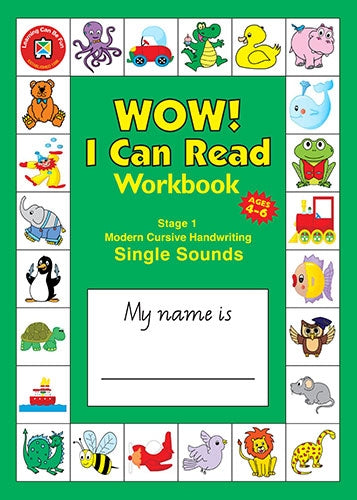 WOW I Can Read Workbook - Stage 1 - Modern Cursive Font
