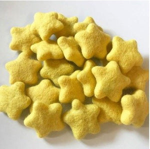 Yellow Natural Wool Felt Stars