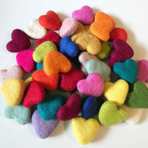 Natural Wool Felt Hearts