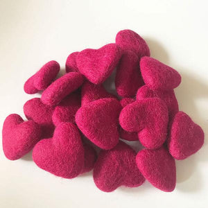Natural Wool Felt Hearts - Rose Red